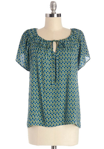 Arts Administrator Top - Mid-length, Woven, Green, Blue, Print, Work, Short Sleeves, Green, Short Sleeve
