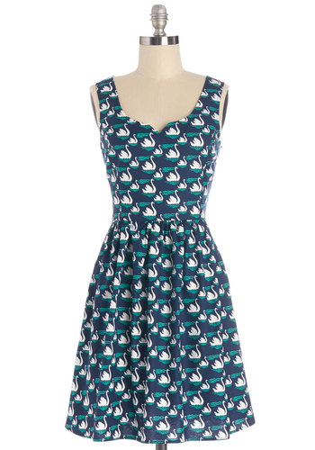 Never Had Swan Like You Dress - Cotton, Woven, Blue, Print with Animals, Casual, A-line, Tank top (2 thick straps), Better, Green, White, Exclusives, Sundress, Critters, Show On Featured Sale, Mid-length