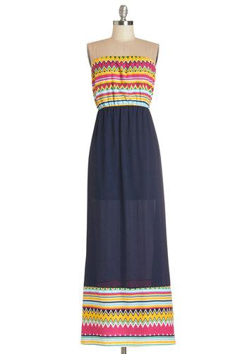 Zing Along Dress - Multi, Casual, Beach/Resort, Maxi, Strapless, Summer, Good, Long, Woven, Chevron