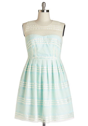 Fanciful Flair Dress in Aqua - Plus Size - Mint, Tan / Cream, Stripes, Pleats, Special Occasion, Graduation, A-line, Sleeveless, Better, Sheer, Pastel, Variation, Show On Featured Sale, Prom, Wedding, Bridesmaid