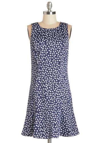 Glam by the Grill Dress by Kensie - White, Polka Dots, Exposed zipper, Work, Casual, Summer, Woven, Better, Scoop, Mid-length, Blue, Sleeveless