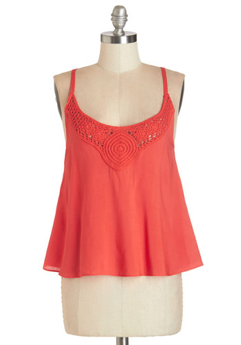 Story Swap Top - Pink, Mid-length, Woven, Coral, Solid, Spaghetti Straps, Spring, Festival, Crochet, Boho, Sleeveless