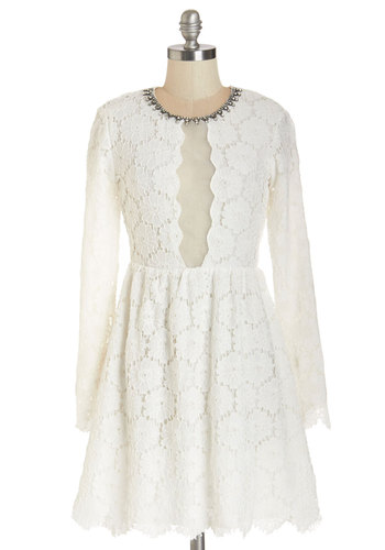 Bride to Bewitch Dress - White, Beads, Crochet, Rhinestones, Special Occasion, Wedding, Party, Bride, A-line, Long Sleeve, Summer, Woven, Better, Scoop, Mid-length, Mixed Media, Lace