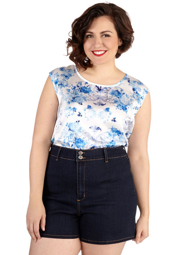 It's High Time Shorts in Plus Size - Denim, Blue, Solid, Pockets, Casual, Summer, Short, Good, Top Rated
