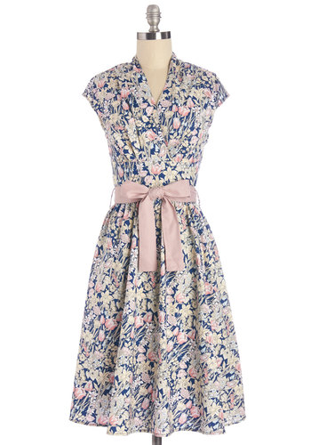 Greeting Postcard Dress in Flowers - Multi, Floral, Belted, Casual, Fit & Flare, Cap Sleeves, Woven, Better, V Neck, Cotton, Top Rated, Full-Size Run, Long
