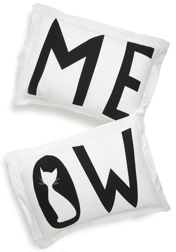 I Speak Cat Pillow Sham Set - Cotton, Woven, Cats, Good, White, Black, Print with Animals, Graduation, Critters