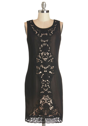 Vision of Sophistication Dress - Black, Mid-length, Woven, Solid, Crochet, Party, LBD, Shift, Tank top (2 thick straps), Good, Scoop, Cocktail