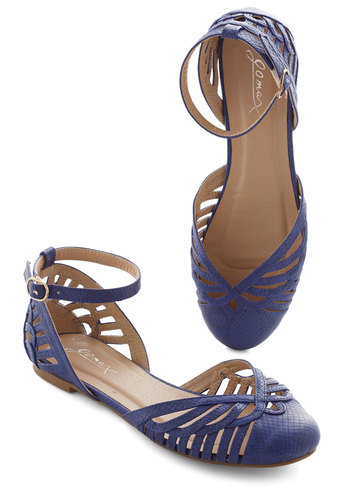 Jaunt of Joy Flat in Royal - Blue, Solid, Cutout, Casual, Daytime Party, Better, Variation, Flat, Faux Leather