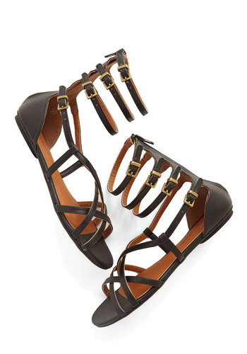 Stretch Your Staycation Sandal - Faux Leather, Black, Solid, Buckles, Casual, Summer, Social Placements