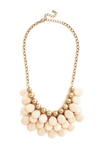 Dazzling Dame Necklace - Blush, Solid, Beads, Tiered, Statement, Gold, Pink, Pastel, Special Occasion