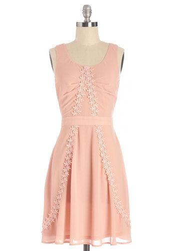 Delightfully Daylit Dress - Pink, Solid, Daytime Party, A-line, Sleeveless, Summer, Woven, Good, Scoop, Mid-length, Pastel