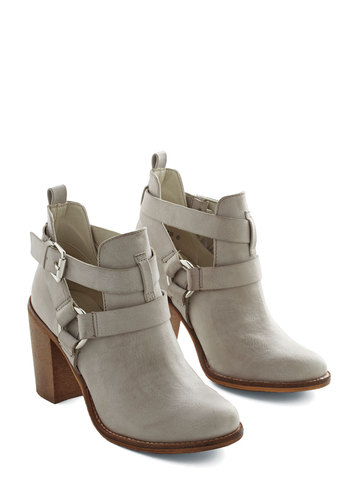 Steady As a Rock Bootie - Grey, Solid, Buckles, Cutout, Urban, Better, Mid, Faux Leather