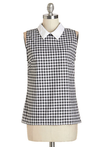 Beach Home Office Top by Motel - Black/White, Sleeveless, Mid-length, Cotton, Woven, Black, White, Checkered / Gingham, Peter Pan Collar, Rockabilly, Pinup, Vintage Inspired, 50s, Darling, Sleeveless, Collared, International Designer, Social Placements