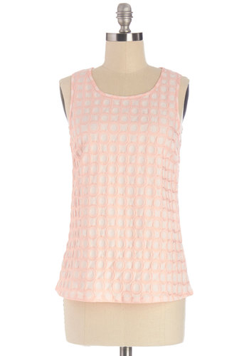 Macaron Tasting Top by Tulle Clothing - Pink, Sleeveless, Mid-length, Woven, Pink, Vintage Inspired, 50s, Pastel, Sleeveless, Spring, Solid, Embroidery, Work