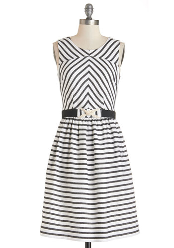 Boardroom to Boardwalk Dress by Bea & Dot - Black, Stripes, Belted, Casual, Nautical, A-line, Sleeveless, Better, Woven, White, Pockets, Exclusives, Private Label, Full-Size Run, Long