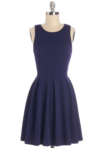 Bateau My Goodness! Dress - Blue, Solid, Pleats, Work, Casual, A-line, Sleeveless, Summer, Knit, Good, Scoop, Social Placements, Mid-length