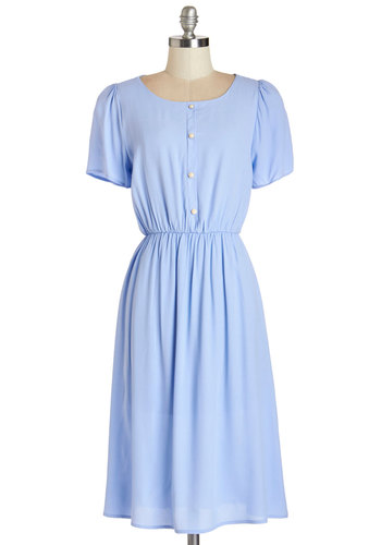 Sail the Superhighway Dress - Blue, Solid, Buttons, Casual, A-line, Short Sleeves, Summer, Woven, Better, Scoop, Pearls, Long