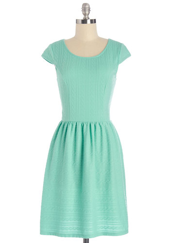 Night in Town Dress - Mint, Solid, Casual, A-line, Cap Sleeves, Summer, Knit, Good, Scoop, Mid-length, Social Placements