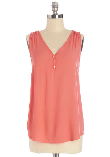 Highlight of My Day Top - Pink, Sleeveless, Long, Woven, Solid, Buttons, Casual, Sleeveless, Spring, V Neck, Coral, Social Placements