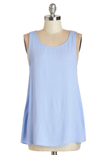 Bayou Breeze Top - Sleeveless, Mid-length, Woven, Blue, Solid, Pastel, Sleeveless, Spring, Blue, Cutout, Scoop
