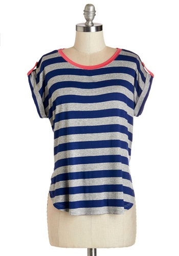 Dockside Day Top - Mid-length, Knit, Blue, Grey, Stripes, Casual, Nautical, Short Sleeves, Spring, Blue, Short Sleeve