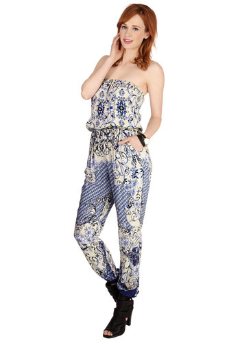 Flourish in Flowers Jumpsuit - Woven, Blue, Print, Pockets, Casual, Daytime Party, Beach/Resort, Boho, Spring, Summer, Good, Ankle, Blue, Non-Denim, Jumpsuit, Long