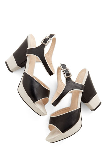 Public Sleeking Heel - Black, White, Solid, Prom, Party, Colorblocking, Better, Platform, Chunky heel, Faux Leather