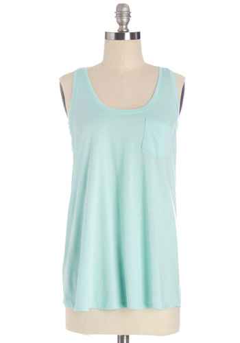 Casual Classic Top in Mint - Mid-length, Knit, Mint, Solid, Casual, Pastel, Sleeveless, Summer, Variation, Blue, Sleeveless, Pockets, Good