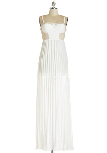 Enchanting Entrance Dress - Pleats, Casual, Maxi, Better, Beach/Resort, Summer, Woven, Long, Chiffon, White, Tan / Cream, Girls Night Out, Spaghetti Straps