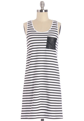 Rock 'n' Cool Dress - Black, White, Stripes, Casual, Shift, Sleeveless, Summer, Knit, Good, Scoop, Mid-length, Pockets, WPI
