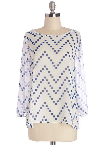 Flash Fete Top in Chevron Confetti - Sheer, Woven, White, Blue, Print, Chevron, Work, 3/4 Sleeve, White, 3/4 Sleeve, Variation, Mid-length