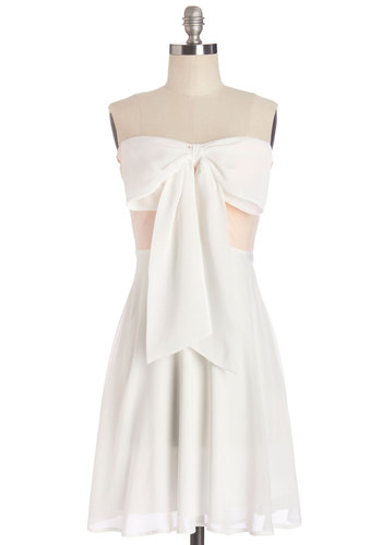 Sweetly Spinning Dress - White, Pink, Bows, Casual, Empire, Strapless, Summer, Woven, Good, Mid-length, Sweetheart