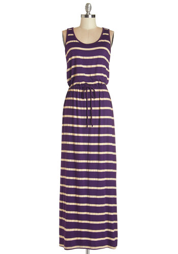 Classic Choice Dress - Purple, Tan / Cream, Stripes, Casual, Beach/Resort, Maxi, Sleeveless, Knit, Good, Scoop, Long, Social Placements
