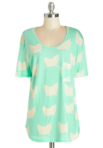 Adorned with Adorable Top - Better, Green, Short Sleeve, Jersey, Knit, Mint, Tan / Cream, Print with Animals, Casual, Pastel, Cats, Short Sleeves, Spring, Summer, Pockets, Scoop, Good, Critters
