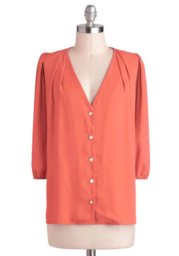 Moxie Lady Top in Coral - Mid-length, Chiffon, Woven, Coral, Solid, Buttons, Work, 3/4 Sleeve, Spring, Orange, 3/4 Sleeve, V Neck, Variation