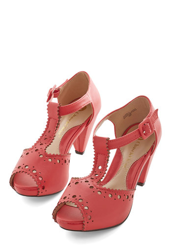 You and Eyelet Heel - Mid, Coral, Solid, Daytime Party, Graduation, Peep Toe, Work, Good, T-Strap, Best Seller, Social Placements