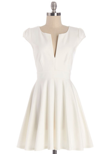 All I Do is Winsome Dress - White, Solid, Casual, Fit & Flare, Cap Sleeves, Summer, Knit, Good, V Neck, Graduation, Mid-length