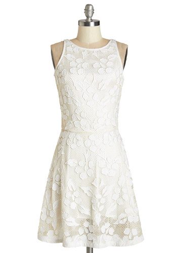 Fancy-Free Afternoon Dress - White, Solid, Lace, Wedding, Daytime Party, Bride, A-line, Sleeveless, Better, Scoop, Mid-length, Woven, Lace, Social Placements