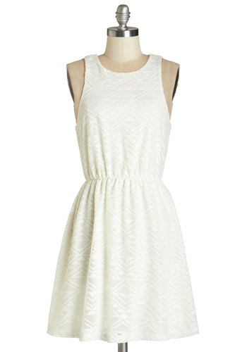 Elegance on the Road Dress - Cream, Solid, Casual, A-line, Sleeveless, Summer, Good, Scoop, Mid-length, Knit