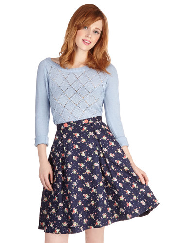 Modern Romance Skirt in Navy Foliage - Summer, Good, Blue, Work, Full, Spring, Blue, Floral, Daytime Party, Buttons, High Waist, Woven, Cotton, Pockets, Variation, Mid-length