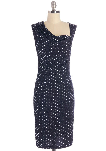 Spots to Talk About Dress - Blue, White, Polka Dots, Shift, Sleeveless, Better, Cowl, Knit, Work, Casual, Mid-length