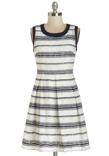 Prim and Prosper Dress - Blue, Tan / Cream, Stripes, Lace, Pleats, Casual, Nautical, A-line, Sleeveless, Better, Scoop, Americana, Summer, Woven, Mid-length