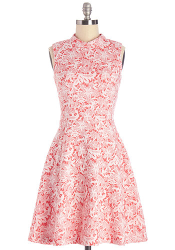 Distinguished Darling Dress by Yumi - White, Lace, Daytime Party, A-line, Sleeveless, Better, Woven, Lace, Mid-length, Pink, Graduation