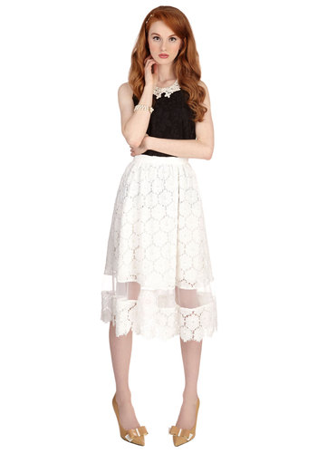 Timeless Taste Skirt - Long, Woven, Lace, Special Occasion, Wedding, A-line, White, Spring, Summer, White, Solid, Lace