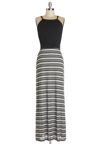 Bayside Bliss Dress - Black, White, Stripes, Casual, Maxi, Sleeveless, Summer, Knit, Good, Scoop, Long