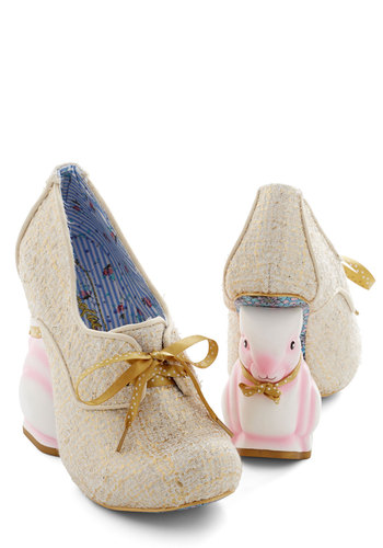 Look Who's Hare Heel in Gold by Irregular Choice - High, Woven, Gold, Solid, Print with Animals, Holiday Party, Statement, Fairytale, Quirky, Best, Wedge, Lace Up, Variation, Critters