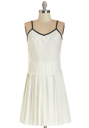 So Fresh and Pristine Dress - White, Solid, Embroidery, Pleats, Trim, A-line, Summer, Woven, Better, V Neck, Short, Lace, Exposed zipper, Party, Vintage Inspired, 20s, Spaghetti Straps, Social Placements