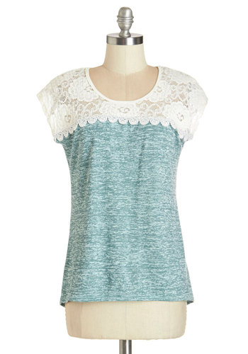 Strum Here to There Top - Mid-length, Knit, Lace, Blue, Cap Sleeves, Tan / Cream, Lace, Casual, Blue, Short Sleeve