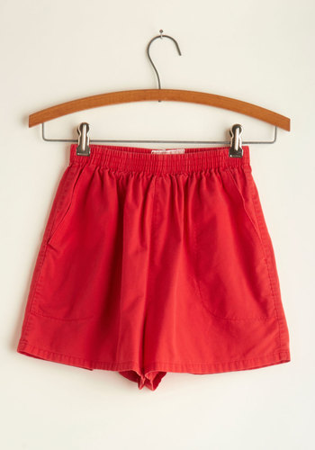 Vintage Buddy System Shorts in Red