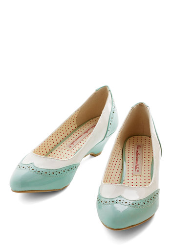 Sweet Spectator Heel in Mint by Bait Footwear - Mid, Faux Leather, Mint, White, Solid, Work, Menswear Inspired, Pastel, Top Rated